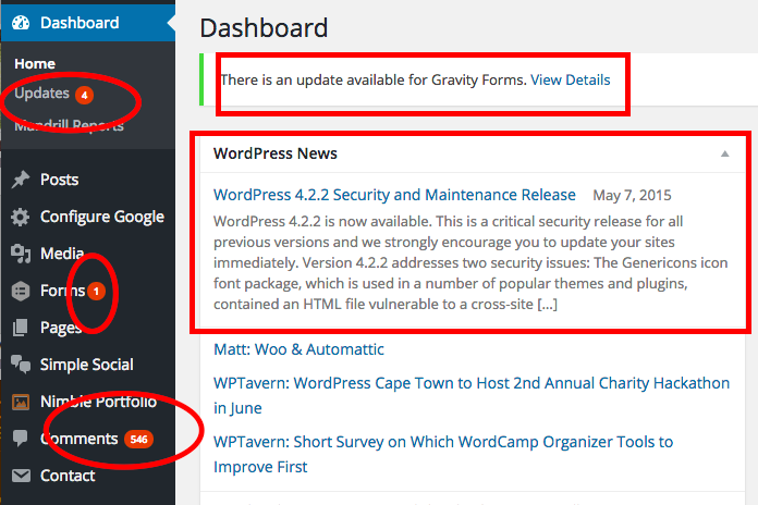 regular wordpress updates are  important