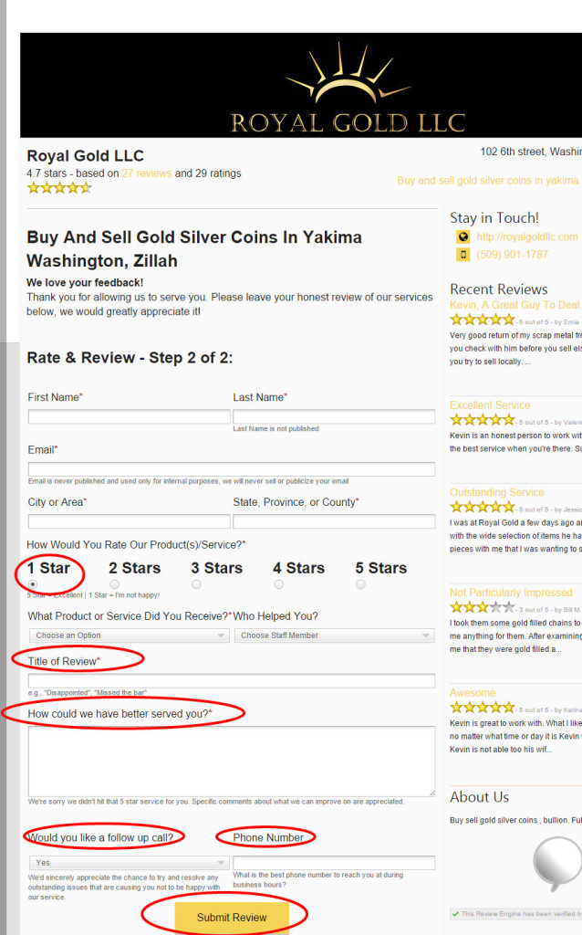 Royal Gold LLC Reviews Washington Zillah 98953 Buy and sell gold silver coins in yakima