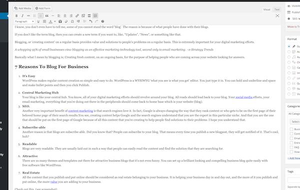 small business marketing blog with wordpress