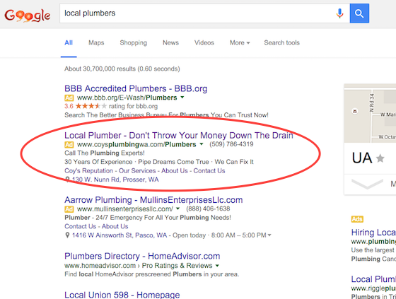 ppc advertising on google works for plumbers