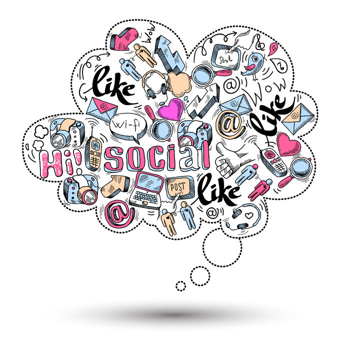 doodle speech bubble icon with social media infographics
