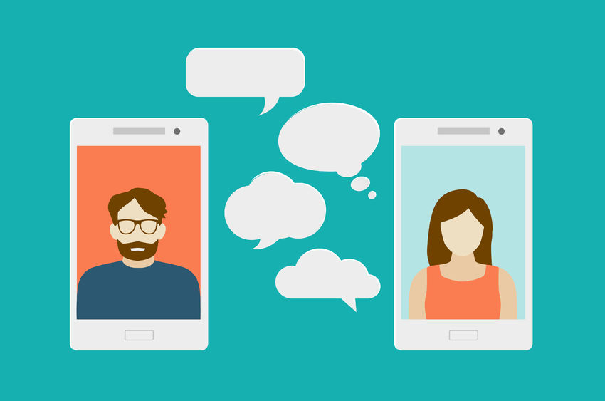 mobile chat or conversation of people via mobile phones