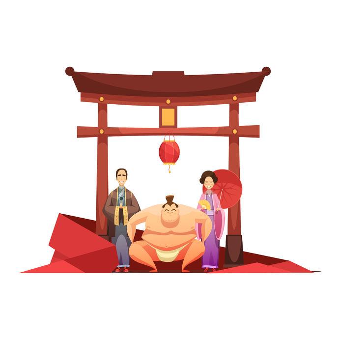 pagoda sumo wrestler and in kimono dressed couple cartoon
